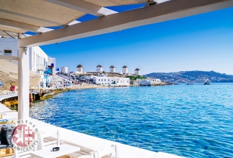 View on Famous Windmills of Mykonos