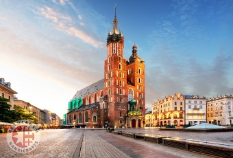 Old City Center with Adam Mickiewicz Monument and Saint Mary's Basilica, Krakow